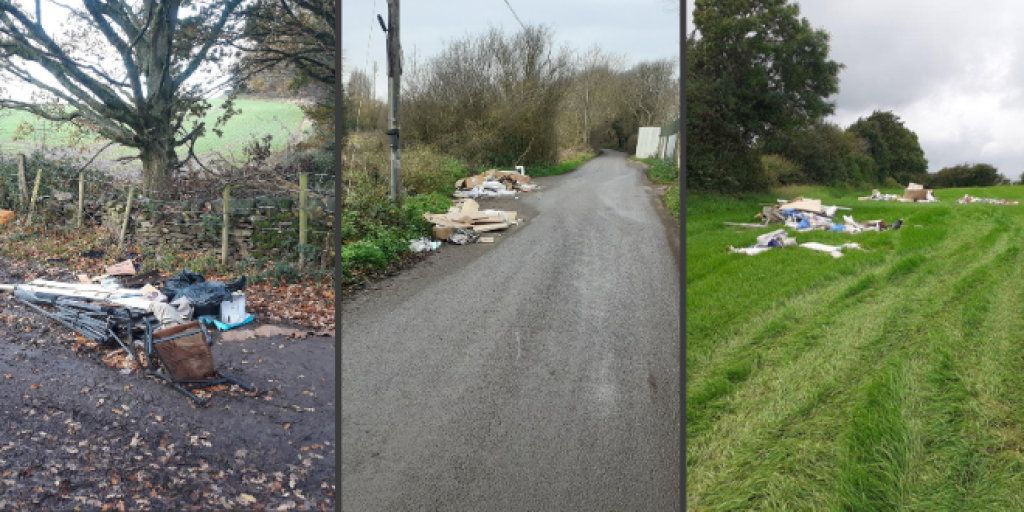 Picture shows fly-tips in Charley Road, Shepshed and Meadow Lane, Syston.