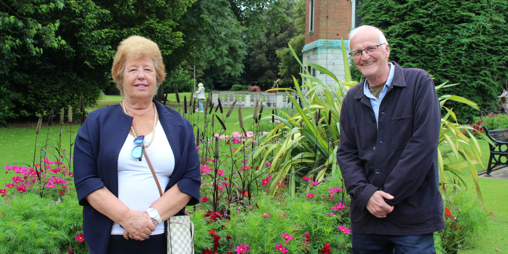 Photo shows lead member for Loughborough, Cllr Jenny Bokor and chair of Loughborough in Bloom, Andy Rush.
