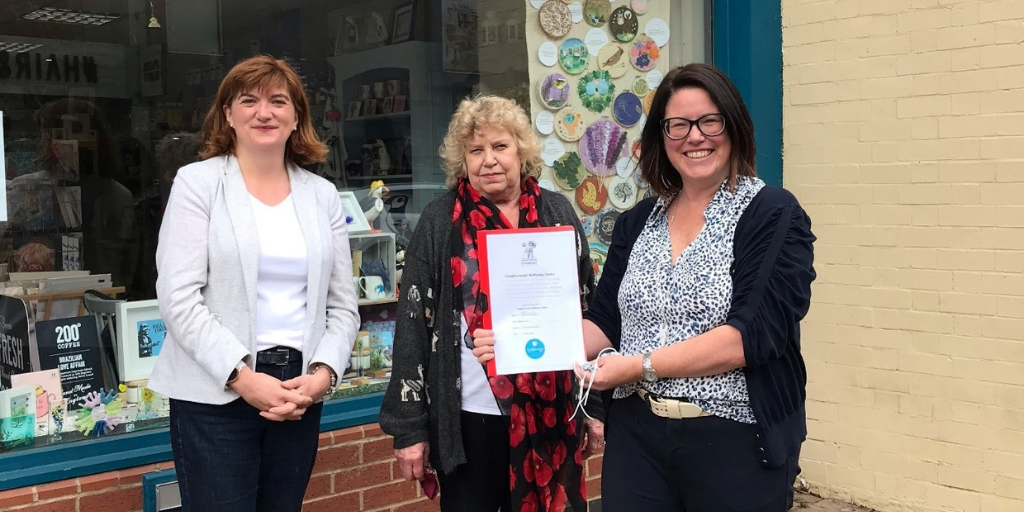 Photo shows L-R The Rt Hon The Baroness Morgan of Cotes, Chair of Trustees at Loughborough Wellbeing Centre, Cllr Hilary Fryer, Armed Forces Champion at Charnwood Borough Council and Helen Carter, Chief Executive of Loughborough Wellbeing Centre.