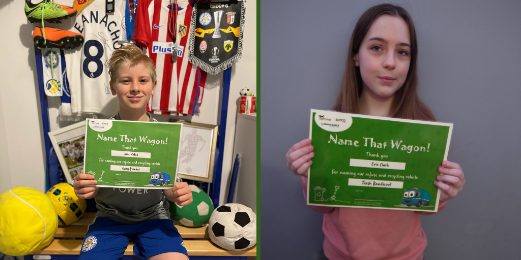 Jude Walne and Evie Clark with their Name That Wagon certificates.