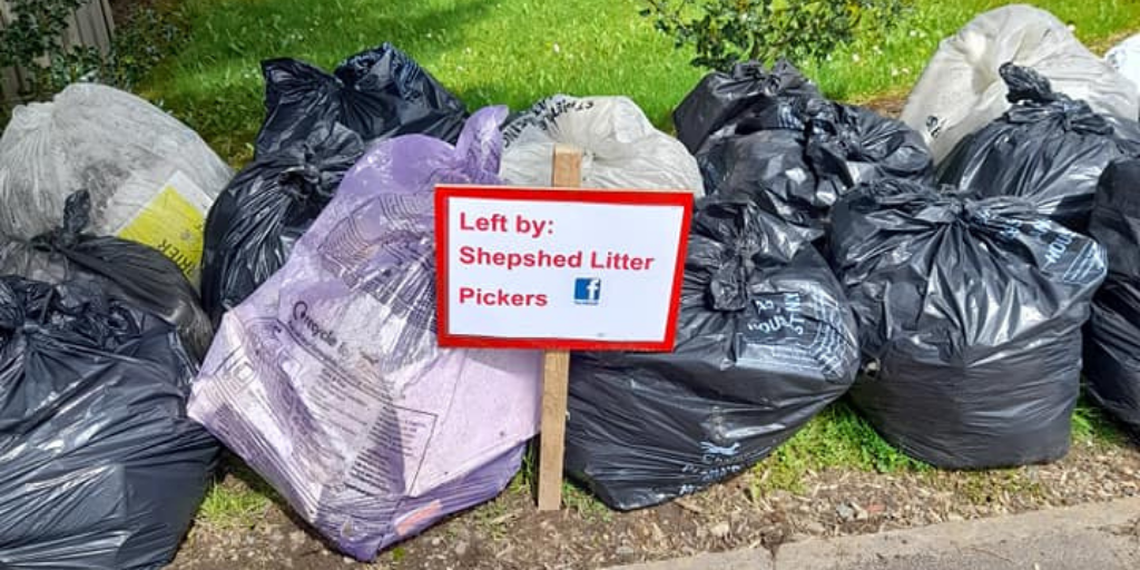 Bags of litter collected by the Shepshed Litter Pickers