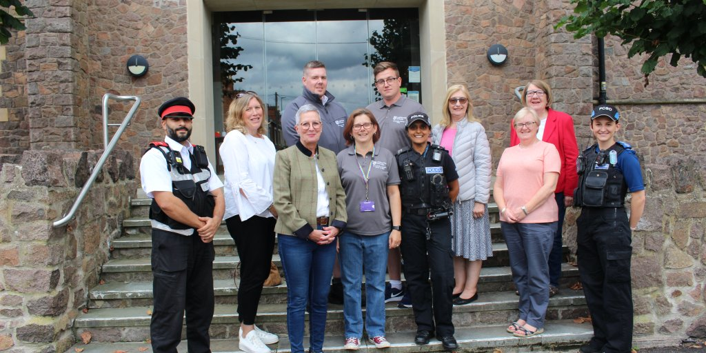 Officers and staff from Charnwood Borough Council, Loughborough University and Charnwood Police and Charnwood Borough Councillors in Storer Road, Loughborough