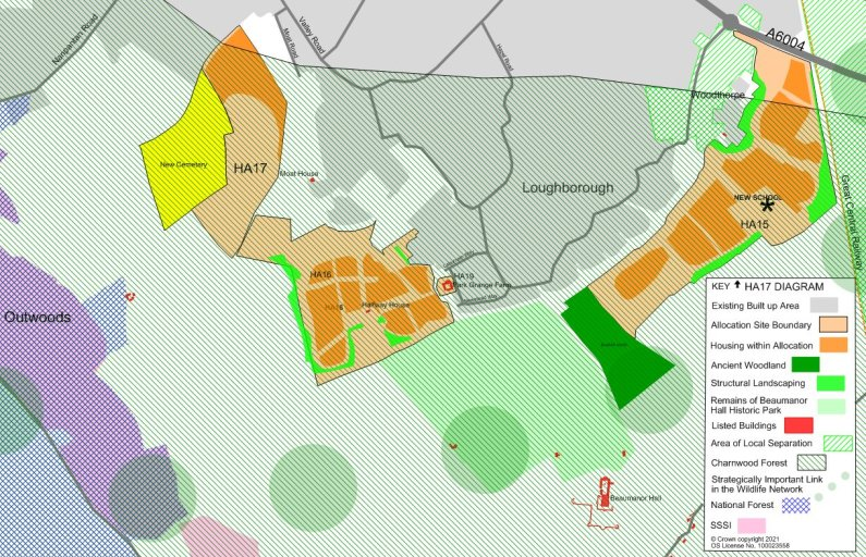 An example of a Charnwood Local Plan 2021-37 area map.