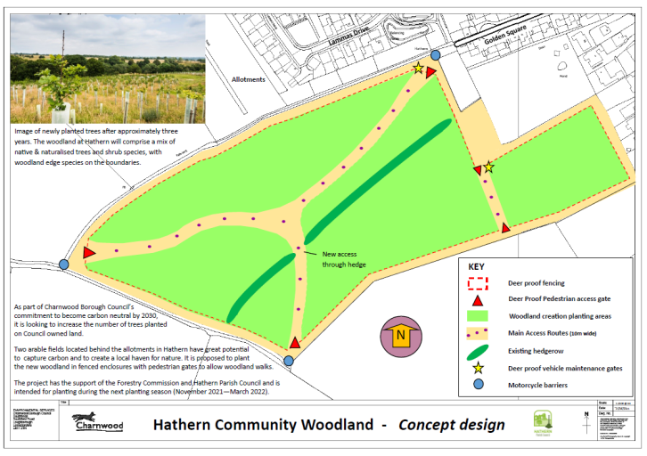 The image shows the plan for two fields behind Golden Square in Hathern where the Community Woodland is being proposed. There is a outline of deer prrof fencing around the two fields with an access point through existing hedgerow. Plan also shows motorcycle barriers at each access point