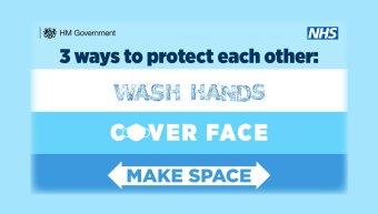 Blue hands face space
