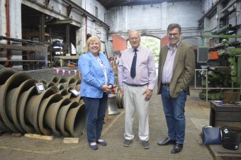 Pictured, from left, Jane Hunt, MP for Loughborough and board member for Loughborough Town Deal, Andrew Wilby, Trustee of the Loughborough Bellfoundry Trust, and Cllr Jonathan Morgan, co-chair of the Loughborough Town Deal board and Leader of Charnwood Borough Council.