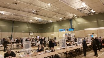 The scene at the count at Loughborough Leisure Centre on May 7 2021