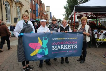 Photo shows L-R: Market traders Amy Cooling and Arthur Proctor, market fairs and town centre operations manager Linda Machin, market trader Steph Smith and Cllr Jenny Bokor, Council's lead member for Loughborough.