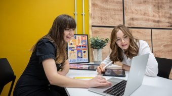 Co-founders of Pickle Illustration, Olivia Collins and Lauren Jefferis, are some of the local entrepreneurs already benefiting from LU Inc's business start-up support.  (Photo credit: Loughborough University)