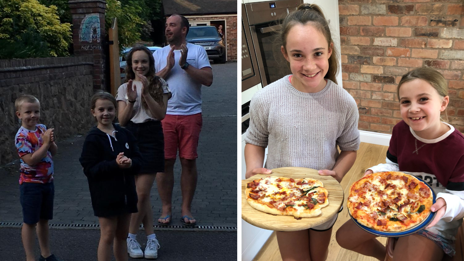 Two photos of the Etty family - one clapping for the NHS and the other making pizzas