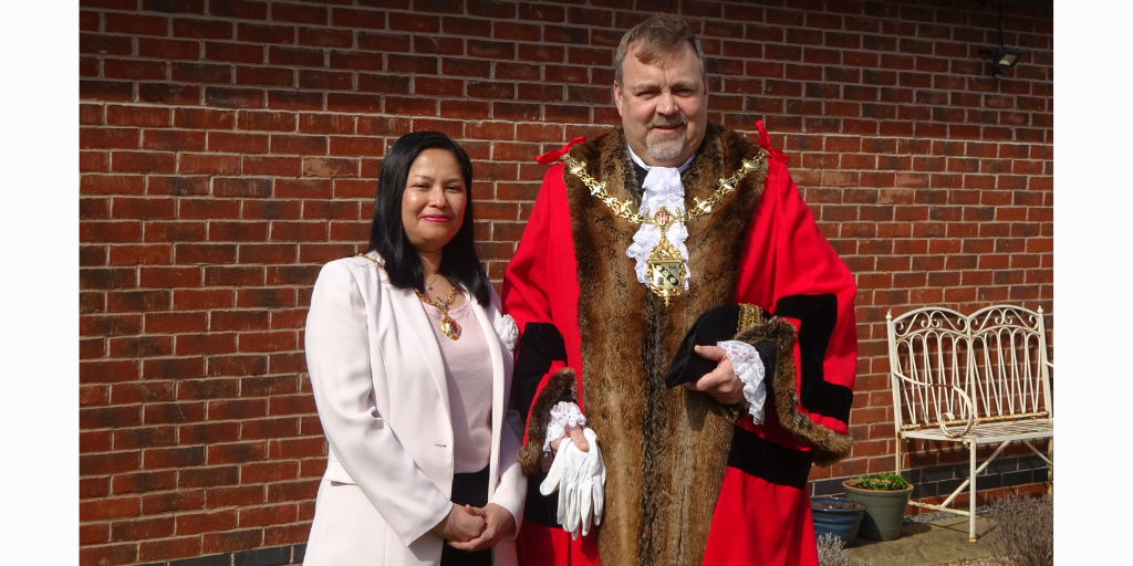 Photo shows Cllr Paul Baines and his wife Dr Ning Baines, Mayor and Mayoress of Charnwood for 2021/22